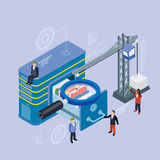 Database storage server. Flat 3d isometric vector. Businessman put in document drawer folder in cloud-shaped cabinet. Crane lowers a folder to the archive Stock Images