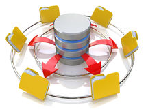 Database symbol connected to computer folder icons (3d render) Royalty Free Stock Photo