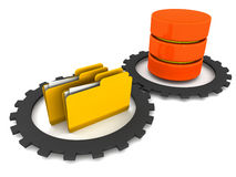Database system folder. Database system and it's sync with folders and files with cogs on white surface vector illustration