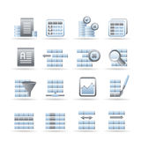 Database and Table Formatting Icons Royalty Free Stock Image
