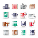 Database and Table Formatting Icons. Vector Icon Set Royalty Free Stock Photography
