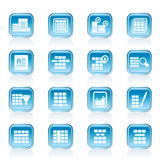 Database and Table Formatting Icons Stock Photo