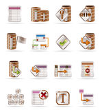 Database and table icons. Vector Icon Set Stock Image