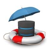 Database Umbrella Lifebelt. A databse with umbrella and lifebelt. White background Royalty Free Stock Photography