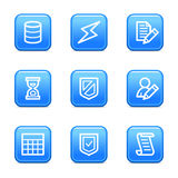 Database web icons. Vector web icons, blue glossy buttons series, V2