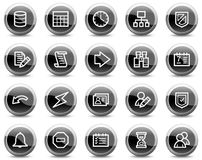 Database web icons, black glossy circle buttons Royalty Free Stock Photos