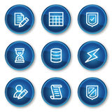 Database web icons, blue circle buttons vector illustration