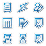 Database web icons, blue contour sticker series Stock Image