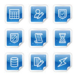 Database web icons, blue glossy sticker series Stock Photos