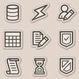 Database web icons, brown contour sticker series stock illustration