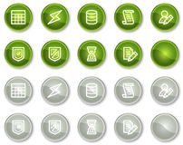 Database web icons, green and grey circle buttons Stock Images