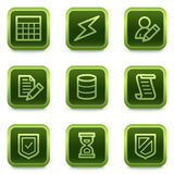Database web icons, green square buttons series Stock Photography