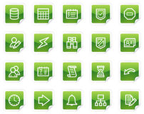 Database web icons, green sticker series. Vector web icons, green sticker series royalty free illustration