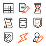 Database web icons, orange and gray contour series. Vector web icons, orange and gray contour series