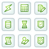 Database web icons, white square buttons series Stock Photography