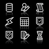 Database white contour web icons V2 Stock Photos