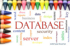 Database word cloud with Crayon Border Stock Image