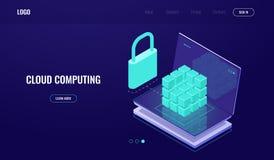 Databasetoegang, gegevens veilig bescherming die, gegevensbeveiliging, serverruimte, wolk, laptop met digitale donkere coube, geg vector illustratie