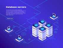 Databasserveror Nätverk för Digital datacenterserver Vara värd techservice Online-isometrisk molnlagringsvektor vektor illustrationer