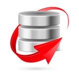 Databassymbol med uppdateringsymbol. Royaltyfri Fotografi