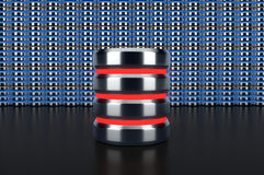 Databassymbol på databasradbakgrund Royaltyfri Fotografi