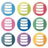 Databassymbolsuppsättning - 9type stock illustrationer