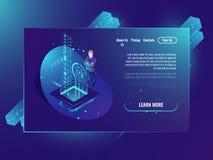 Databruk, analysdata och investering, affärsframgång, isometrisk neonultraviolet för datorhall stock illustrationer