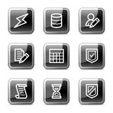 Databse web icons, glossy buttons series. Vector web icons, black square glossy buttons series Stock Photography