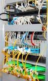 Datacenter óptico de fibra, convertidores de los media Fotos de archivo