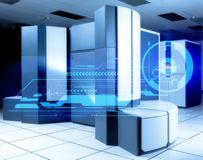 datacenter σύγχρονος Εσωτερικό δίκτυο Ιστού δωματίων κεντρικών υπολογιστών και παγκόσμια τεχνολογία επικοινωνιών Διαδικτύου διανυσματική απεικόνιση