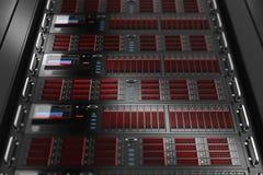 Datacenter сервера обшивает панелями компьютер 3d иллюстрация штока