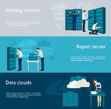 Datacenter Banner Set. Datacenter horizontal banner set with hosting servers and data clouds elements isolated vector illustration Royalty Free Stock Photos