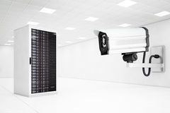 Datacenter with a big cctv camera Stock Images
