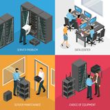 Datacenter 2x2 Isometric Design Concept. Datacenter 2x2 design concept of square compositions describing choice of equipment and work in server maintenance Royalty Free Stock Images