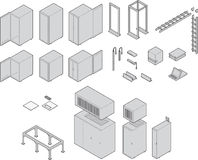Datacenter Equipment. Various datacenter equipment. Drawn at isometric angle. All have closed paths with color fills linked to a global swatch for easy color Stock Images