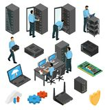Datacenter Equipment Isometric Set. With engineers collecting the server racks isolated vector illustration Royalty Free Stock Photos