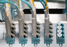 Datacenter Fiber optic Patch Panel and distributor for Cloud Royalty Free Stock Images
