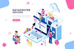 Datacenter internetadministratör Concept Vector Design stock illustrationer