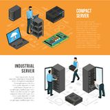 Datacenter Isometric Horizontal Banners Royalty Free Stock Images