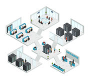 Datacenter Isometric Multistore Composition Royalty Free Stock Image