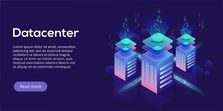 Datacenter isometric vector illustration. Abstract 3d hosting se. Rver or data center room background. Network or mainframe infrastructure website header layout Royalty Free Stock Images