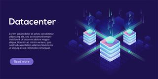 Datacenter isometric vector illustration. Abstract 3d hosting se. Rver or data center room background. Network or mainframe infrastructure website header layout Royalty Free Stock Photo