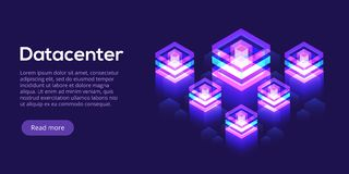 Datacenter isometric vector illustration. Abstract 3d hosting se. Rver or data center room background. Network or mainframe infrastructure website header layout Stock Illustration