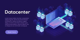 Datacenter isometric vector illustration. Abstract 3d hosting se. Rver or data center room background. Network or mainframe infrastructure website header layout Stock Images