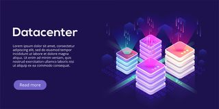 Datacenter isometric vector illustration. Abstract 3d hosting se. Rver or data center room background. Network or mainframe infrastructure website header layout Stock Photography