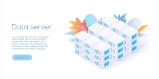 Datacenter isometric vector illustration. Abstract 3d hosting se. Rver or data center room background. Network or mainframe infrastructure website header layout Vector Illustration