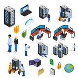 Datacenter isometrisk symbolsuppsättning royaltyfri illustrationer