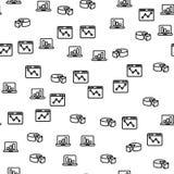 Datacenter-Laptop-Diagramm-Grafik-nahtloses Muster stock abbildung