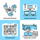 Datacenter Linear Compositions. With cloud service server data warehouse corporate connection information and support isolated vector illustration Stock Image