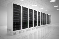 Datacenter with one row. Of computers in white room Royalty Free Stock Images